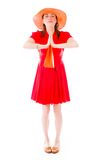 Model isolated on plain background praying wishing Stock Photos