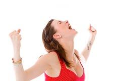Model isolated on plain background screaming Stock Photo