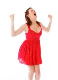 Model isolated on plain background screaming Royalty Free Stock Image