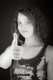 Model isolated positive attitude thumbs up Stock Photo
