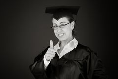 Model isolated positive attitude thumbs up Royalty Free Stock Image