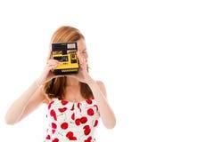 Model isolated on white camera polaroid Royalty Free Stock Photography