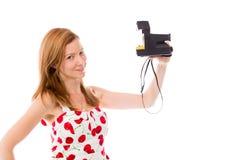 Model isolated on white camera polaroid Royalty Free Stock Photos