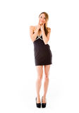Model isolated on white with fake smile Royalty Free Stock Photo