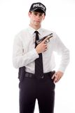 Model isolated on white policeman with gun Stock Photography