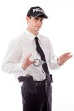 Model isolated on white policeman handcuffs Stock Images