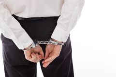 Model isolated on white policeman handcuffs Stock Image