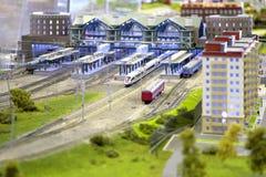 model järnväg station Royaltyfri Bild