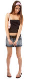 Model in jeans skirt Royalty Free Stock Photos