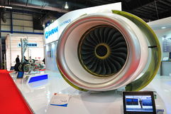 Model of jet engine at Singapore Airshow Stock Images