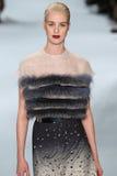 Model Julia Frauche walks the runway wearing Carolina Herrera Fall 2015 Collection Stock Images