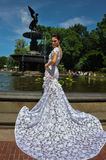 Model Kalyn Hemphill poses by the fountain in Central Park Stock Image