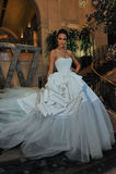 Model Kalyn Hemphill poses at the Irina Shabayeva SS 2016 Bridal collection photo shoot Royalty Free Stock Photos
