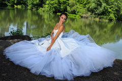 Model Kalyn Hemphill poses by the lake in Central Park Royalty Free Stock Photo