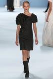 Model Katya Riabinkina walks the runway wearing Carolina Herrera Fall 2015 Collection Stock Photo