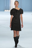 Model Katya Riabinkina walks the runway wearing Carolina Herrera Fall 2015 Collection Stock Photography
