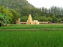 Model of Khmer Temple Made from Loincloth on Vibrant Green Paddy Field, Nakhon Ratchasima province Stock Images