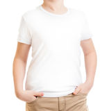 Model kid in t-shirt or tshirt isolated on white Stock Images