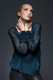 Model In Laced Blouse. Beautiful model, posing, dressed in vintage, lace blouse Stock Photography