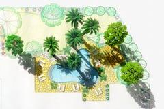 Model landscape architect design backyard plan. For villa stock image
