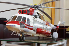 Model of large cargo helicopter Mi-171A2. MOSCOW - AUGUST 2: Model of large cargo helicopter Mi-171A2 in museum of Helicopter Plant named Mil, on August 2, 2012 Stock Photo