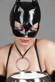 Model in latex white cat costume drinking milk royalty free stock photography