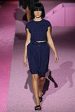 Model Laura Julie walk the runway at Marc Jacobs during Mercedes-Benz Fashion Week Spring 2015 Royalty Free Stock Image