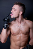 Model with leather gloves stock images