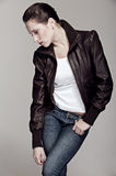 Model in leather jacket Stock Images
