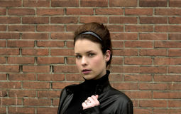 Model in leather jacket Stock Photos