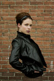 Model in leather jacket Royalty Free Stock Images