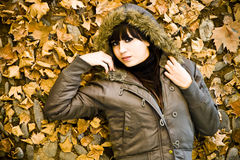 Model in leaves Stock Photos