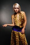 Model in leopard dress Royalty Free Stock Images