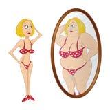 Model lijdend aan anorexie spiegel Stock Foto's