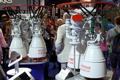 Model of liquid rocket engine RD-180 at the International Aviati Royalty Free Stock Images