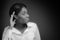 Model listening paying attention Stock Image
