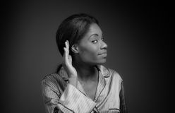 Model listening paying attention Royalty Free Stock Photos