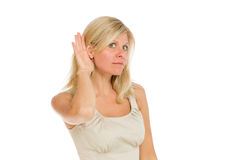 Model listening paying attention Royalty Free Stock Image