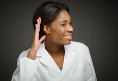 Model listening paying attention Royalty Free Stock Photo