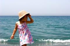 Model little girl. On the beach Stock Image