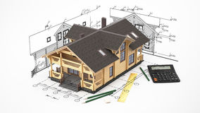 The model of a log house on the background drawings with drawing instruments. The three-dimensional image of a modern wooden house on a background of drawings Royalty Free Stock Photos