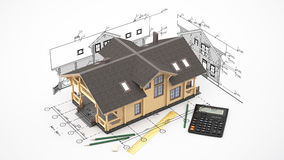The model of a log house on the background drawings with drawing instruments. The three-dimensional image of a modern wooden house on a background of drawings Royalty Free Stock Images