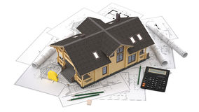 The model of a log house on the background drawings with drawing instruments Stock Images
