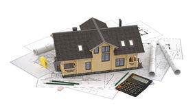 The model of a log house on the background drawings with drawing instruments Royalty Free Stock Photos