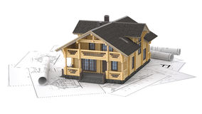 The model of a log house on the background drawings. The three-dimensional image of a modern wooden house on a background of drawings. Objects isolated on white Stock Photos