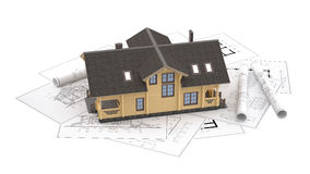 The model of a log house on the background drawings. The three-dimensional image of a modern wooden house on a background of drawings. Objects isolated on white Royalty Free Stock Photos