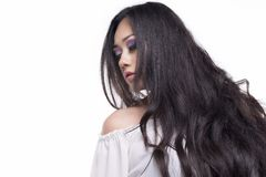 Model with long black hair stock photography