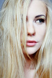 Model with long blond hair. Royalty Free Stock Photo
