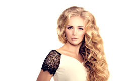 Model with long hair Blonde Waves Curls Hairstyle Hair Salon Upd Stock Photography