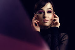 Model with long pink eyelashes Royalty Free Stock Photo